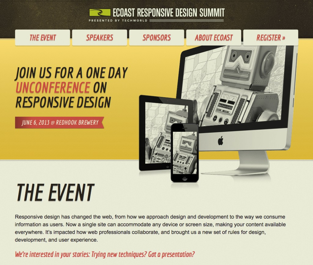 eCoast Homepage for Responsive Design Summit