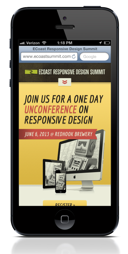 mobile view of ecoast's homepage for responsive design summit