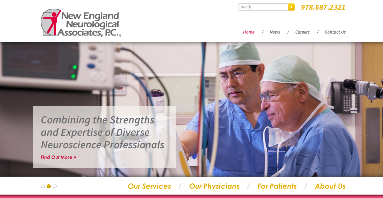 New England Neurological Associates Website Homepage