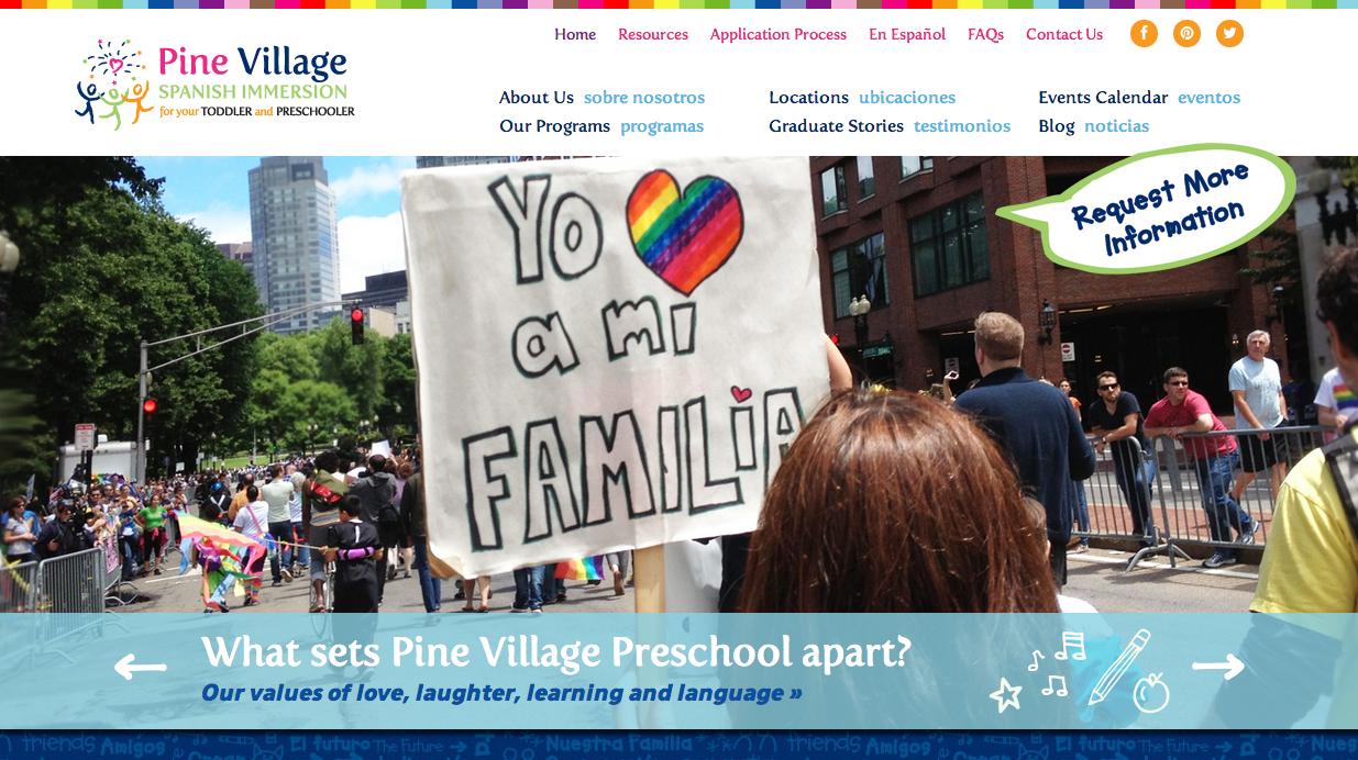Pine Village PreSchool Website Homepage