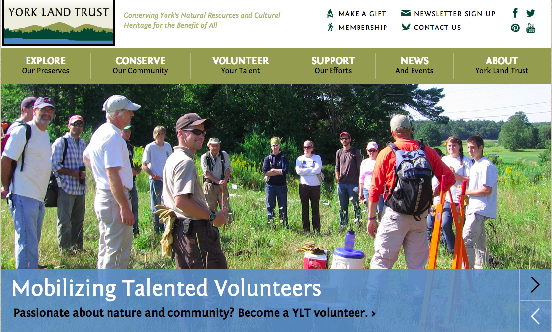 York Land Trust Website Homepage